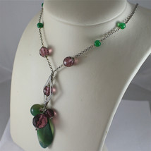 .925 RHODIUM SILVER NECKLACE, GREEN JADE AND FACETED PURPLE CRYSTALS. image 4
