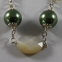 .925 RHODIUM SILVER BRACELET WITH OVAL MOTHER OF PEARL AND GREEN PEARLS REBUILT image 2