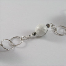 925 STERLING SILVER NECKLACE WITH GREY QUARTZ AND WHITE HOWLITE 23,62 IN image 4