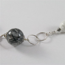 925 STERLING SILVER NECKLACE WITH GREY QUARTZ AND WHITE HOWLITE 23,62 IN image 5