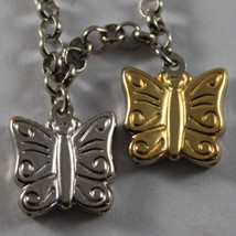 .925 RHODIUM SILVER YELLOW GOLD PLATED BRACELET WITH BUTTERFLIES image 2
