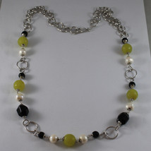 .925 SILVER RHODIUM NECKLACE WITH BLACK ONYX, WHITE PEARLS AND GREEN JASPER image 2