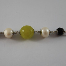 .925 SILVER RHODIUM NECKLACE WITH BLACK ONYX, WHITE PEARLS AND GREEN JASPER image 3
