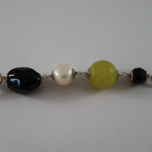 .925 SILVER RHODIUM NECKLACE WITH BLACK ONYX, WHITE PEARLS AND GREEN JASPER image 4