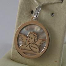18K WHITE GOLD ROUND MEDAL PENDANT GUARDIAN ANGEL WITH MOTHER OF PEARL image 2