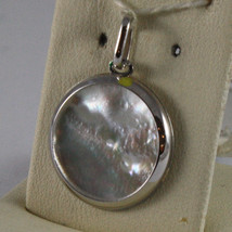 18K WHITE GOLD ROUND MEDAL PENDANT GUARDIAN ANGEL WITH MOTHER OF PEARL image 3