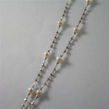 925 RHODIUM SILVER NECKLACE WITH FW WHITE PEARLS AND BABY BOY PENDANT 18.90 IN image 4