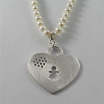 925 RHODIUM SILVER NECKLACE WITH FW WHITE PEARLS AND HEART GIRL PENDANT 18.11 IN image 3