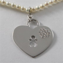 925 RHODIUM SILVER NECKLACE WITH FW WHITE PEARLS AND HEART GIRL PENDANT 18.11 IN image 2