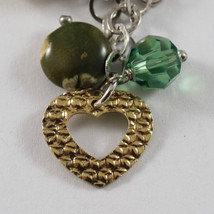 .925 RHODIUM SILVER BRACELET WITH GOLDEN CHARMS, CRISTAL AND JASPER image 2