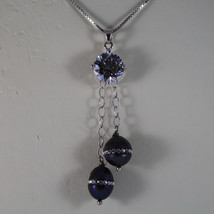.925 RHODIUM NECKLACE WITH TWO GRAY PEARL WITH ZIRCONS AND CENTRAL CRISTAL image 3