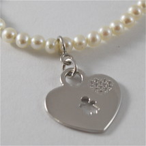 925 SILVER BRACELET WITH HEART AND GIRL PENDANT AND WITH FW WHITE PEARLS STRING image 2