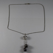 .925 RHODIUM NECKLACE WITH TWO GRAY PEARL WITH ZIRCONS AND CENTRAL CRISTAL image 2