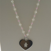 925 RHODIUM SILVER NECKLACE WITH FW WHITE PEARLS AND HEART GIRL PENDANT 18.90 IN image 2