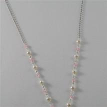 925 RHODIUM SILVER NECKLACE WITH FW WHITE PEARLS AND HEART GIRL PENDANT 18.90 IN image 5