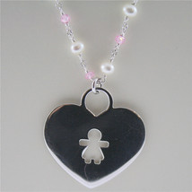 925 RHODIUM SILVER NECKLACE WITH FW WHITE PEARLS AND HEART GIRL PENDANT 18.90 IN image 3