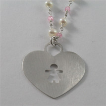 925 RHODIUM SILVER NECKLACE WITH FW WHITE PEARLS AND HEART GIRL PENDANT 18.90 IN image 4