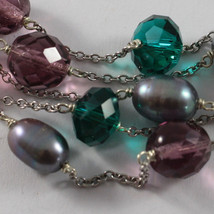 .925 RHODIUM SILVER MULTI STRAND BRACELET WITH GRAY PEARLS AND CRISTAL GREEN image 2