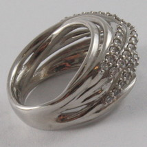 SOLID 925 SILVER BAND RING BY NANIS, MULTIWIRES, WOVEN, ZIRCONIA, MADE IN ITAL image 3