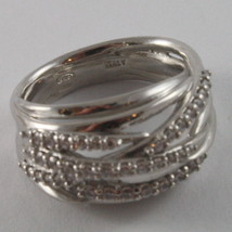 SOLID 925 SILVER BAND RING BY NANIS, MULTIWIRES, WOVEN, ZIRCONIA, MADE IN ITAL image 2