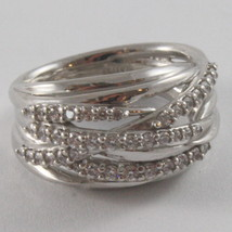 SOLID 925 SILVER BAND RING BY NANIS, MULTIWIRES, WOVEN, ZIRCONIA, MADE IN ITAL image 4