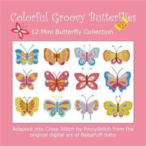 Colorful Groovy Butterflies nature cross stitch chart Pinoy Stitch - $13.50