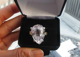Estate 40.59 carat Kunzite &.63 ct diamond, sapphire 14k yellow gold rin... - $3,499.99