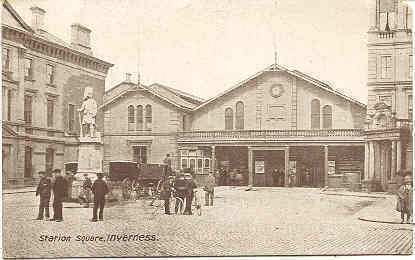 Station Square Iverness Scotland vintage Post Card