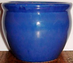 Small Blue Glazed Ceramic Bulb Pot - $9.00