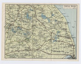 1924 ORIGINAL VINTAGE MAP OF NORFOLK BROADS YARMOUTH / ENGLAND - $13.46