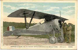 American Aviator and French Warplane 1919 Vintage Post Card. - $10.00