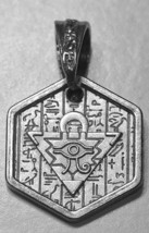 LOOK Heavy Egyptian EYE OF HORUS Amulet hieroglyphics Egypt Sterling silver 925 - $53.31