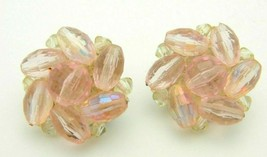 Western Germany Pink Prystal Cluster Beaded Silver Tone Earrings Vintage - $19.79