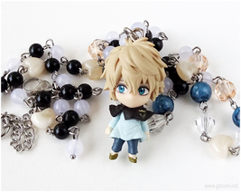 Luck Anime Figure Necklace, Burakku Kuroba, Handmade Jewelry, Otaku Gifts - $37.00