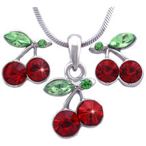 Green Red - Cherry Fruit Pendant Necklace Charm Post Stud Earrings Jewel... - $29.98