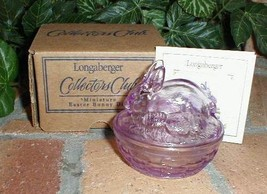 Longaberger 6 Collectors Club Lavender Glass Covered Mini Bunny Dish - $118.50