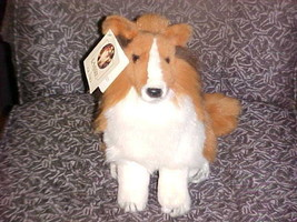 """12"""" Lassie Sitting Up Plush Dog With Tags By Gund 1990 - $70.11"""