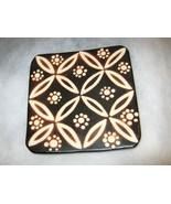 """Marcelo Prado Peru black clay pottery footed pedestal tile 5"""" Handmade s... - $34.64"""
