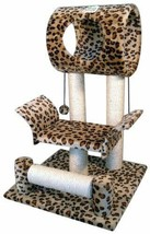Kitty Cat Trees And Condos Scratch Lounger Leopard Rest Play House Activ... - $45.94