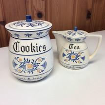Vintage Decorative Blue & White Cookie Jar & Li... - $22.99