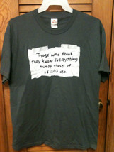 "Mens Green ""Know Everything"" Novelity T-Shirt - Size Large - MUST SEE!! - $9.10"