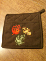 Oven Mit Pocket Pot Holder Mitt with Applique of Leaves - $6.50