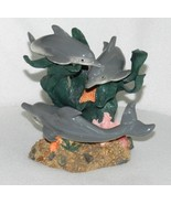 Herco Marine Sea Figurine Three Ceramic Dolphins on Rock Base - $17.99