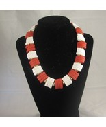 "Necklace Red and white Acrylic Plastic Fashion Jewelry 15""  - $10.99"