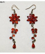 Red Flowers Glass Dangling Earrings for Pierced Ears - $9.99