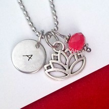 Personalized Lotus Pendant Necklace Jewelry Lotus Necklace Initial Monog... - $10.00 - $12.50