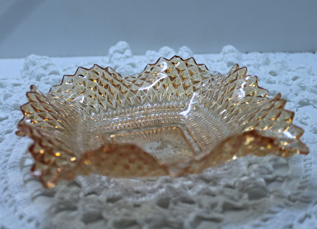 Vintage Indiana Glass Company Marigold Diamond Point Pattern Candy Dish Bowl