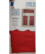 """3 Pc. Curtains Set: 2 Tiers (27""""x36"""") & Valance (54""""x14"""") RED COLOR,MART... - $22.76"""