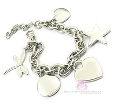 Love Beauty for Ashes Heart Dragonfly Star Circle Charm Silver Link Bracelet - $6.95
