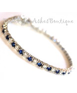 Beauty for Ashes 3mm Sapphire Blue Clear White Elegant Glam CZ Tennis Bracelet - $85.00